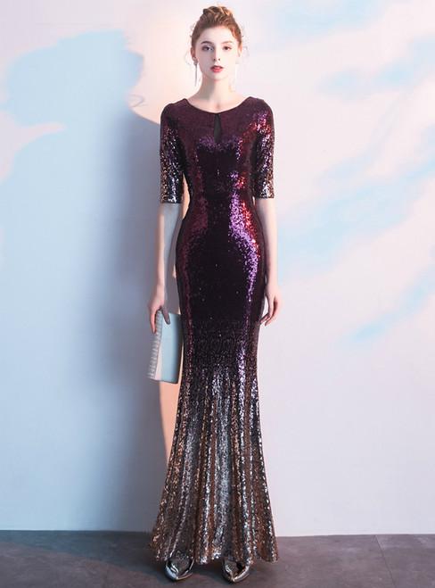 In Stock:Ship in 48 Hours Purple Mermaid Sequins Short Sleeve Prom Dress