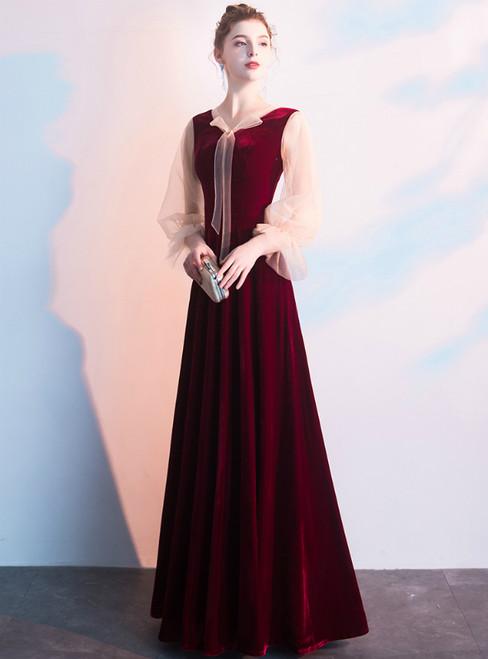In Stock:Ship in 48 Hours Burgundy Velvet Long Sleeve Prom Dress