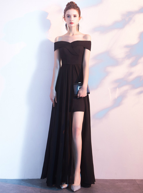 In Stock:Ship in 48 Hours Black Chiffon Off the Shoulder Prom Dress