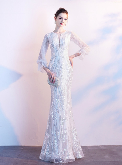 In Stock:Ship in 48 Hours White Mermaid Sequins Long Sleeve Prom Dress