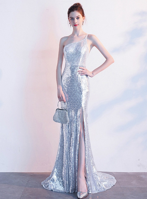 In Stock:Ship in 48 Hours Silver Mermaid Sequins One Shoulder Prom Dress