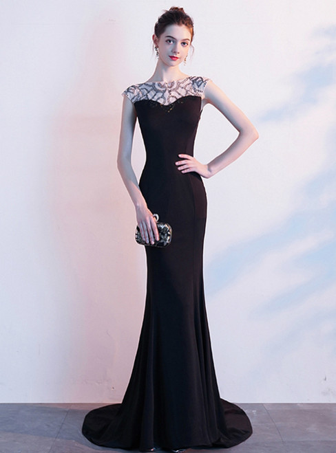 In Stock:Ship in 48 Hours Sexy Black Mermaid Satin Beading Prom Dress