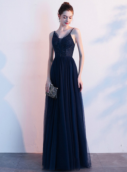 In Stock:Ship in 48 Hours Navy Blue Tulle Spaghetti Straps Prom Dress