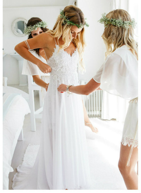 Modest Beach Wedding Dresses 2017 Open Back Outdoor Summer Weddings Dress