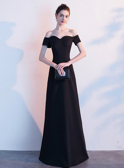 In Stock:Ship in 48 Hours Black Satin Off the Shoulder Short Sleeve Prom Dress