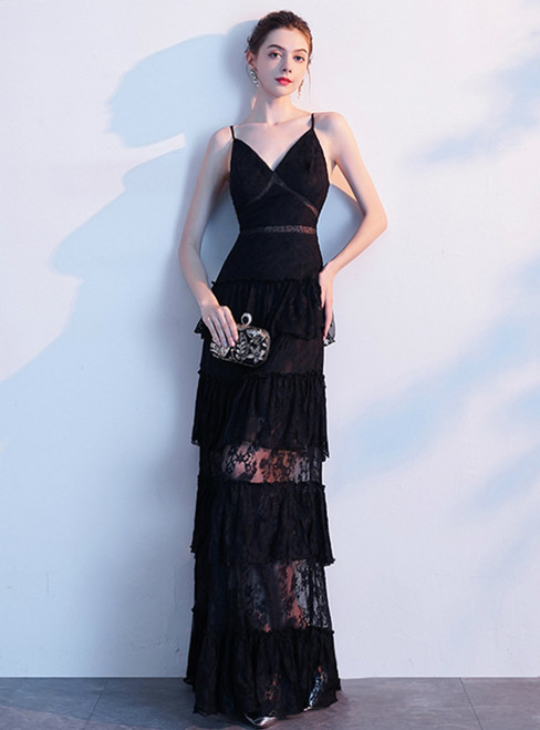 In Stock:Ship in 48 Hours Black Lace Spaghetti Straps Prom Dress