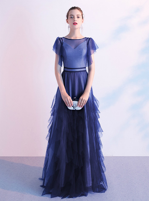 In Stock:Ship in 48 Hours A-Line Blue Starry Sky Tulle Prom Dress