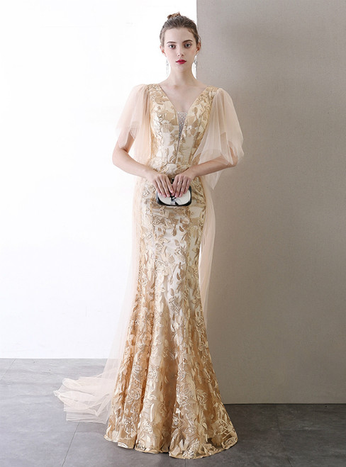 In Stock:Ship in 48 Hours Champagne Gold Mermaid Embroidery V-neck Prom Dress