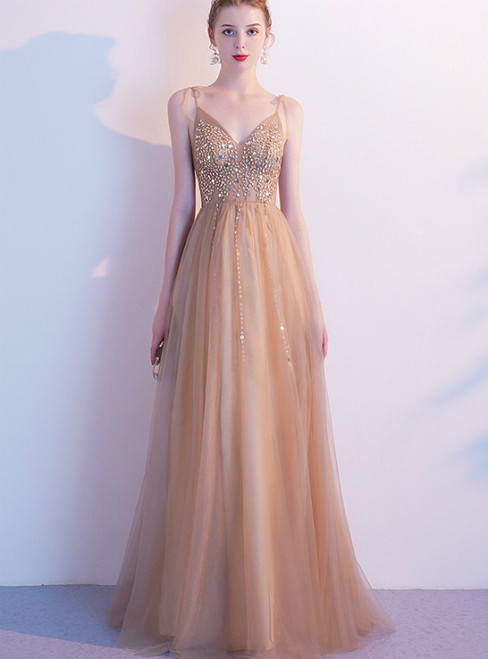 In Stock:Ship in 48 Hours Champagne Tulle V-neck Beading Sequins Prom Dress