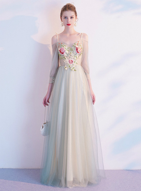 In Stock:Ship in 48 Hours Light Green Tulle Embroidery Prom Dress