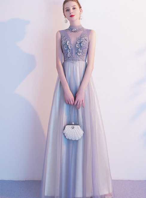 In Stock:Ship in 48 Hours Gray Tulle High Neck Appliques Prom Dress