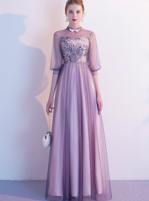 In Stock:Ship in 48 Hours Purple Embroidery Short Sleeve Prom Dress