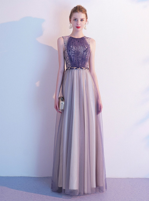 In Stock:Ship in 48 Hours Purple Tulle Embroidery Long Prom Dress