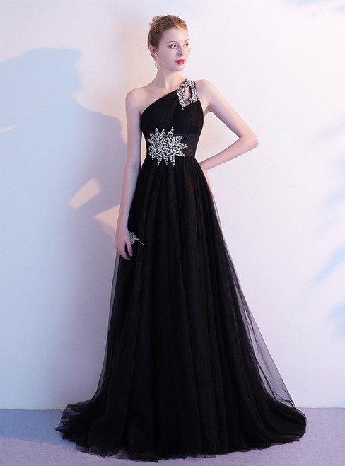 In Stock:Ship in 48 Hours Black Tulle One Shoulder Beading Prom Dress