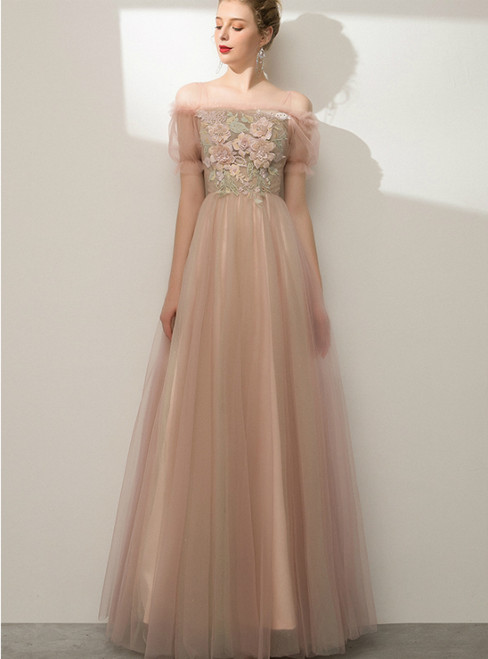 In Stock:Ship in 48 Hours Pink Tulle Short Sleeve Appliques Prom Dress