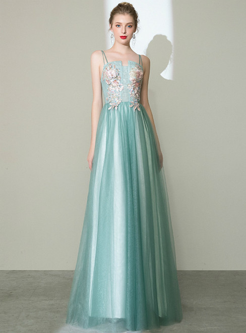 In Stock:Ship in 48 Hours Green Tulle Appliques Spagehtti Straps Prom Dress