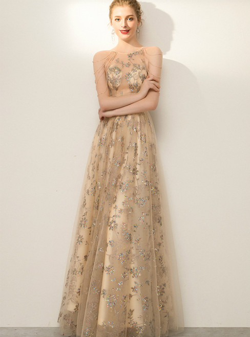In Stock:Ship in 48 Hours Champagne Tulle Sequins Beading Prom Dress