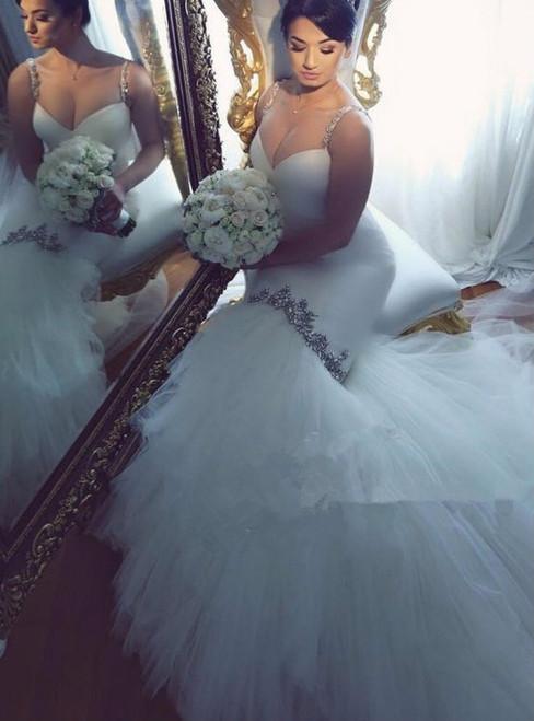 Plus Size Mermaid Wedding Dresses 2017 Spaghetti Straps Sleeveless Court Train Tulle 2017