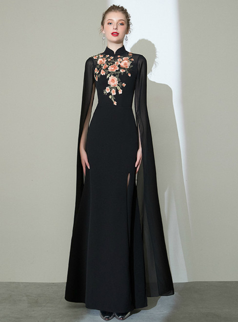 In Stock:Ship in 48 Hours Black Sheath Embroidery Prom Dress