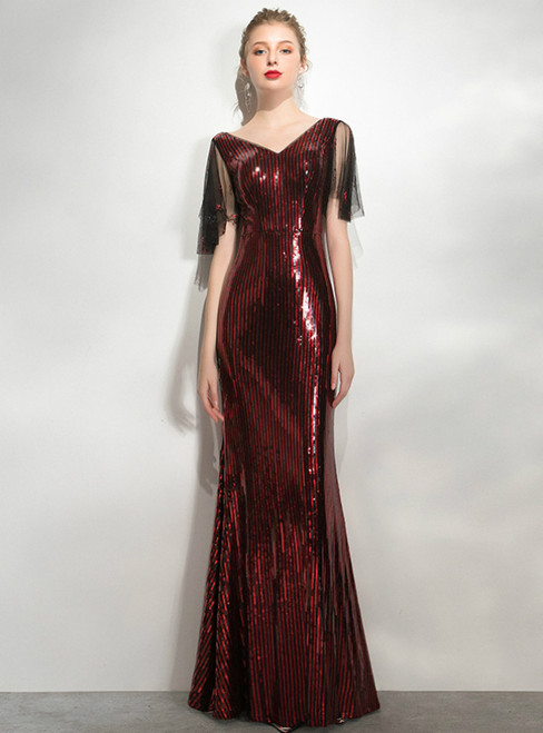 In Stock:Ship in 48 Hours Burgundy Sequins V-neck Prom Dress