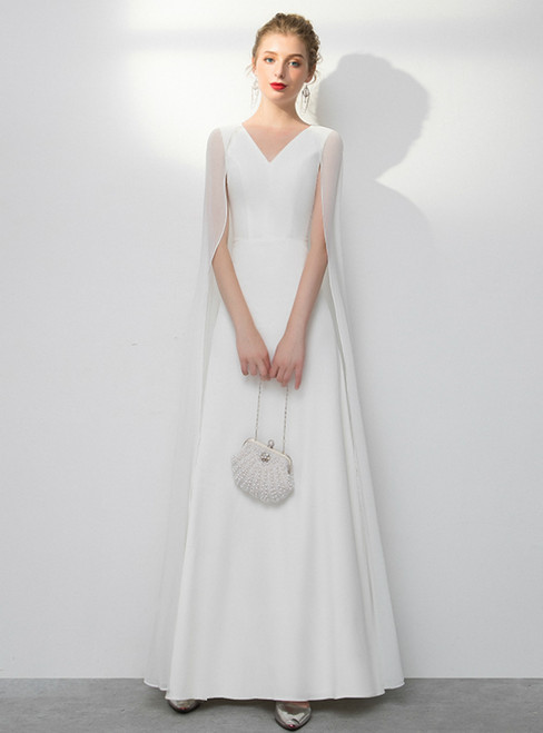 In Stock:Ship in 48 Hours White Chiffon V-neck Prom Dress