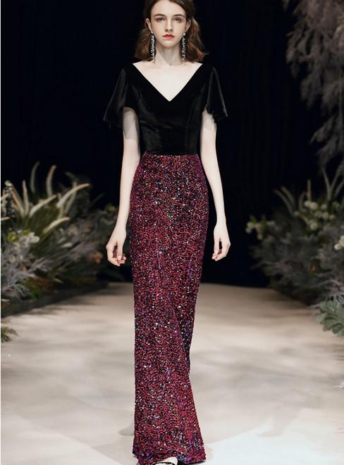 In Stock:Ship in 48 Hours Black Velvet Red Sequins V-neck Prom Dress