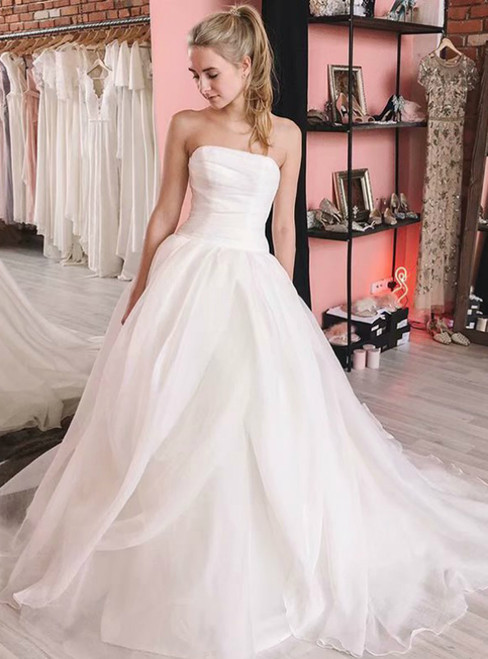 White Strapless Organza Sleeveless Long Wedding Dress