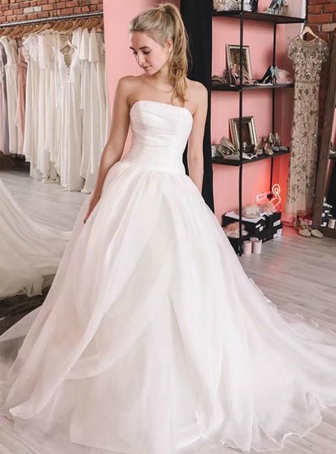 White Strapless Organza Sleeveless Long Wedding Dress