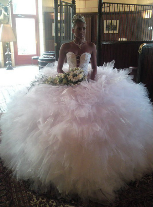 New Arrival Pink Ball Gown Tulle Sweetheart Sleeveless Wedding Dresses