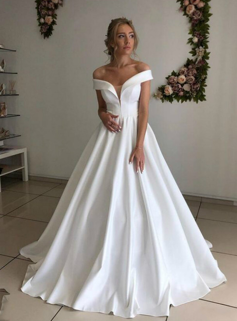 A-Line White Satin Off the Shoulder Formal Wedding Dress