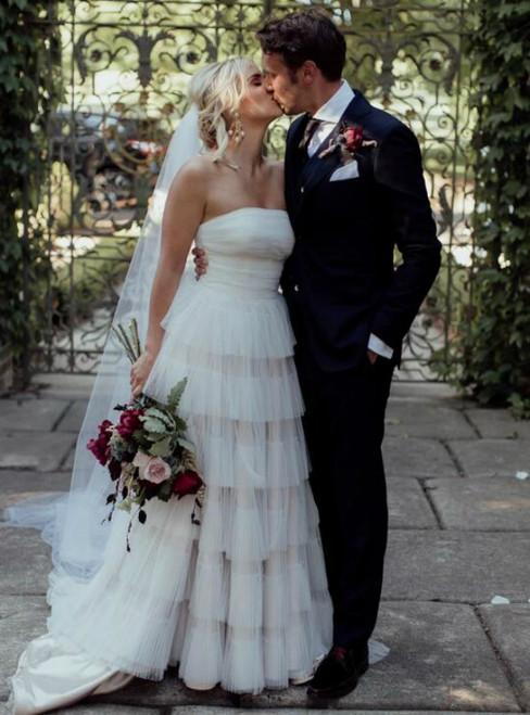 Ivory White Layered Tulle Strapless Long Wedding Dress