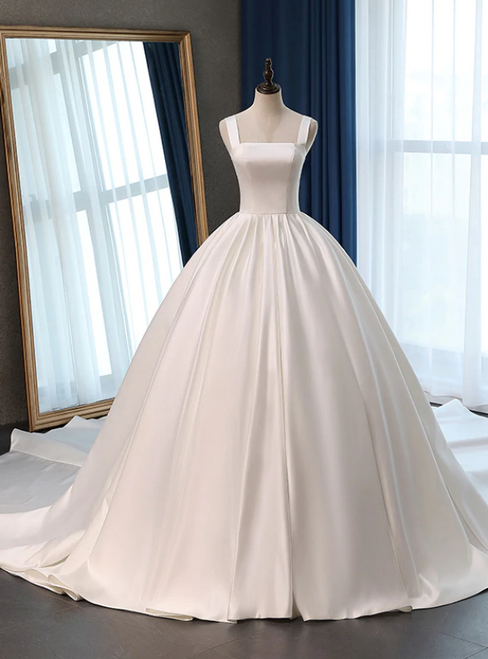 White Ball Gown Satin Straps Sleeveless Wedding Dress With Train