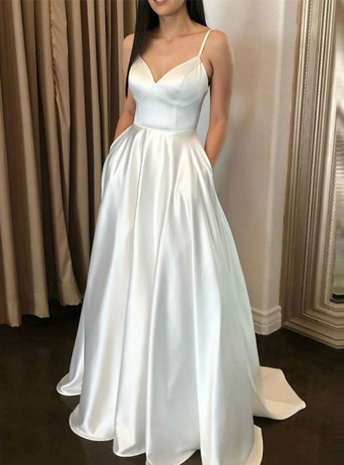 A-Line White Satin Spaghetti Straps Sleeveless Floor Length With Pocket
