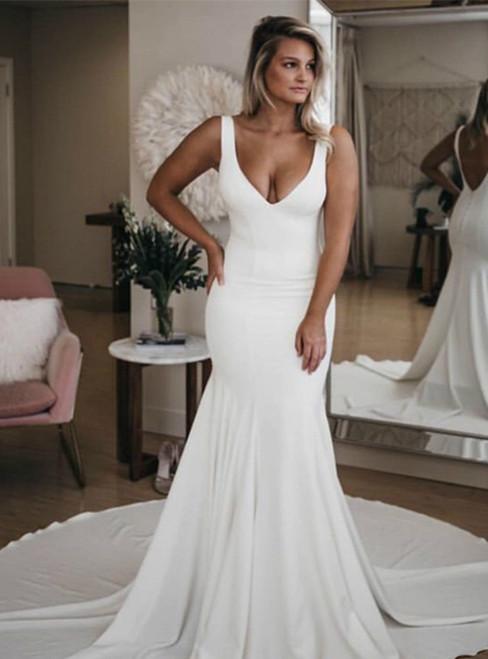Simple White Mermaid Satin Deep V-neck Backless Wedding Dress