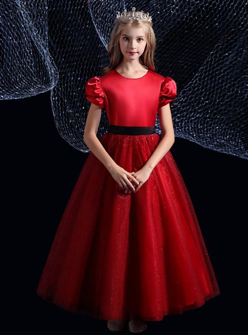 A-Line Burgundy Satin Tulle Puff Sleeve Flower Girl Dress