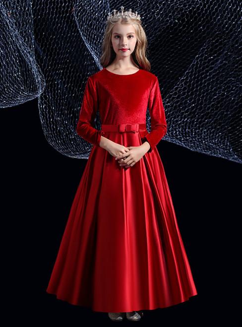 A-Line Burgundy Satin Velvet Long Sleeve Pleats Flower Girl Dress