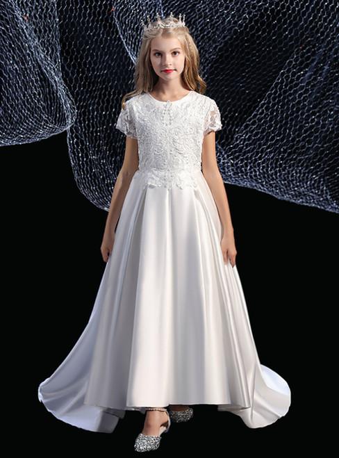 A-Line White Satin Hi Lo Appliques Cap Sleeve Flower Girl Dress