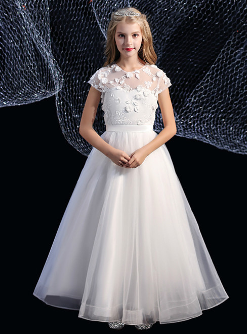 A-Line White Tulle Appliques Cap Sleeve Flower Girl Dress