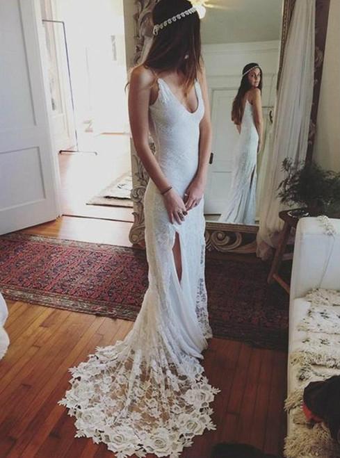 Bohemian Summer Beach Wedding Dress Lace Backless Side Slit Bridal Gown