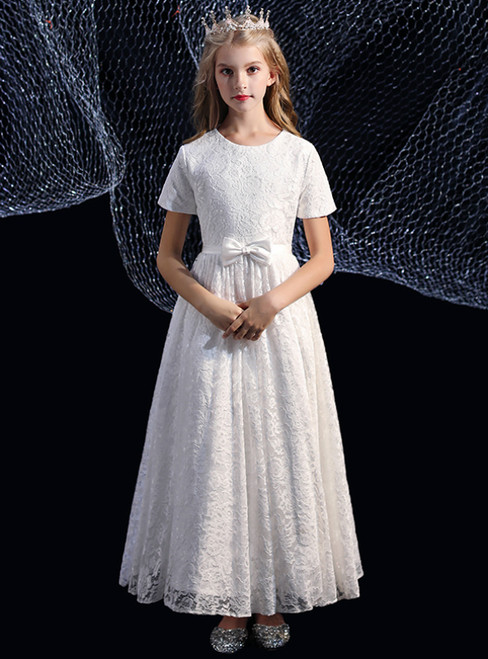 A-Line Lace Cap Sleeve Long Short Sleeve Flower Girl Dress