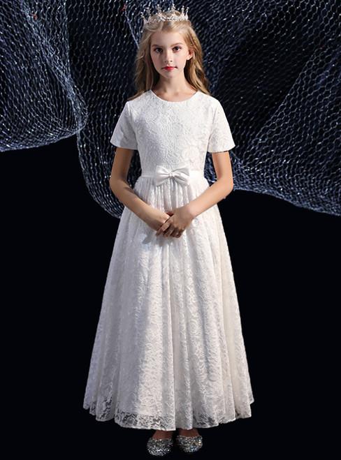 A-Line Lace Cap Sleeve Long Short Sleeve Flower Girl Dress