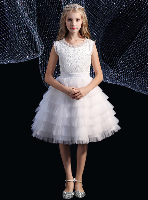 White Tulle Layer Lace Knee Length Flower Girl Dress