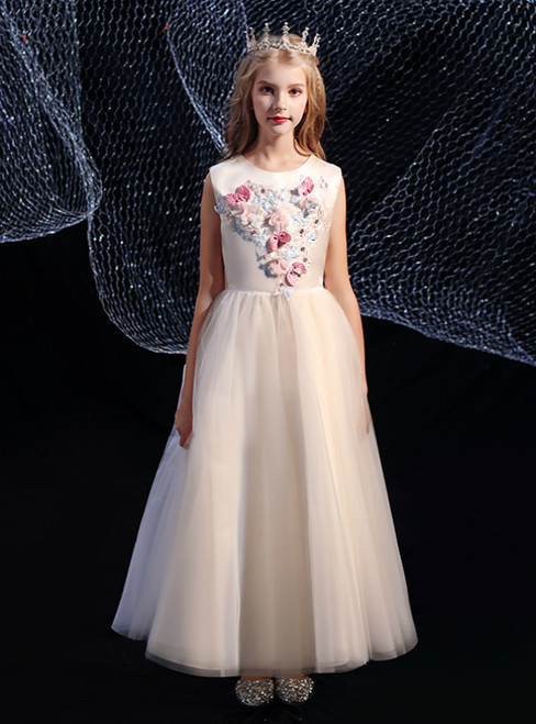 A-Line Champagne Tulle Colorful Flower Long Flower Girl Dress