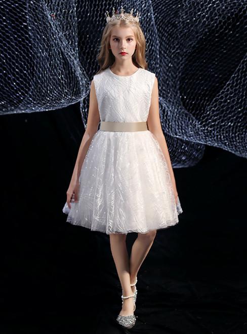 A-Line White Tulle Sequins Short Flower Girl Dress