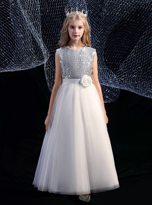 A-Line White Tulle Silver Sequins Flower Girl Dress With Flower
