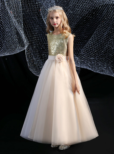 A-Line White Tulle Champagne Sequins Flower Girl Dress With Flower