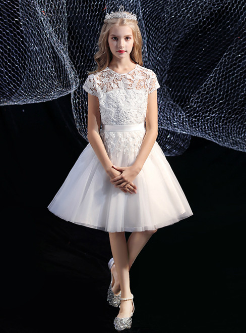 Simple White Tulle Lace Cap Sleeve Short Flower Girl Dress