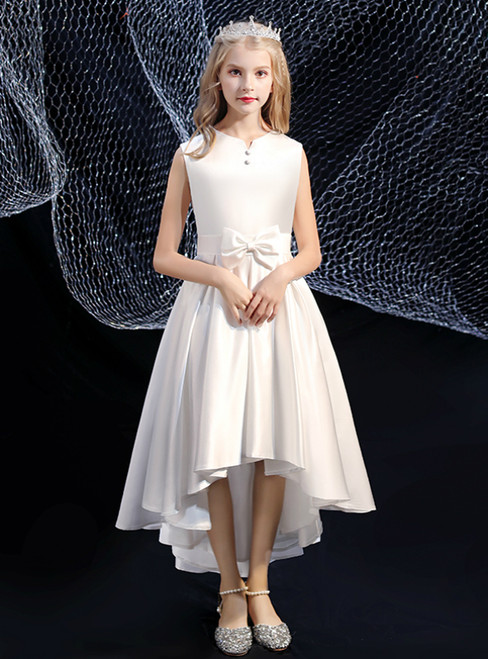 A-Line White Satin Hi Lo Flower Girl Dress With Bow