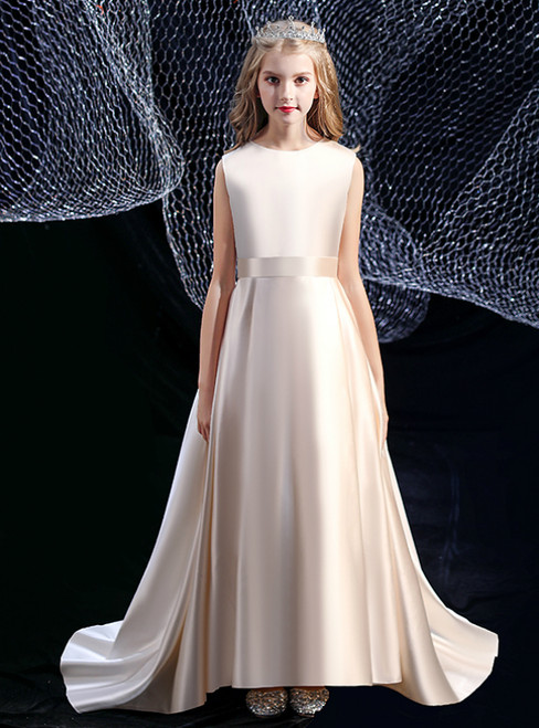 A-Line Champagne Hi Lo Satin Princess Flower Girl Dress