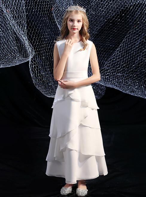 Simple White Chiffon Sleeveless Flower Girl Dress
